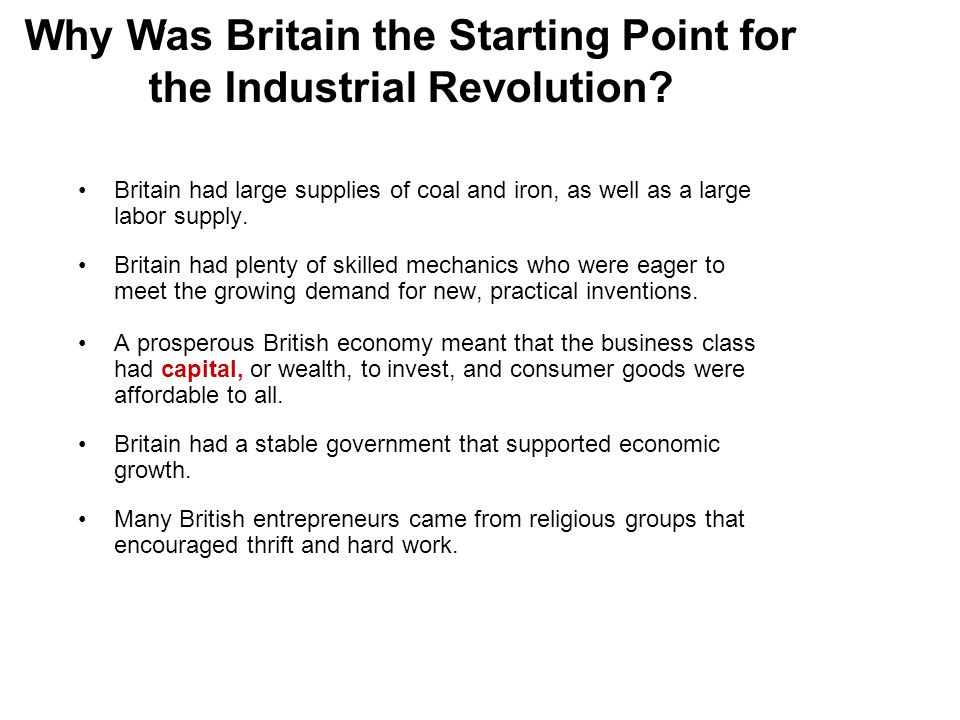 Why Was Britain the Starting Point for the Industrial Revolution