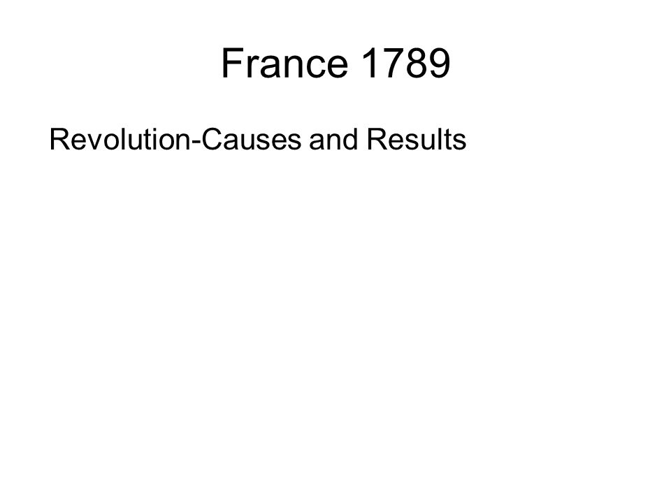 France 1789 Revolution-Causes and Results
