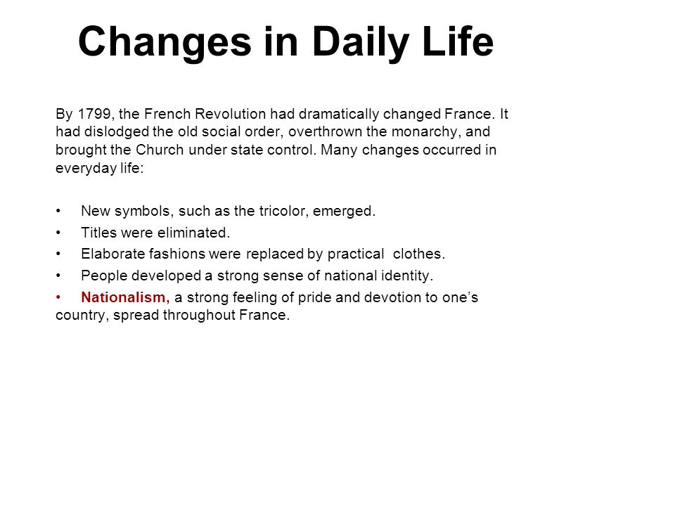 Changes in Daily Life 3.