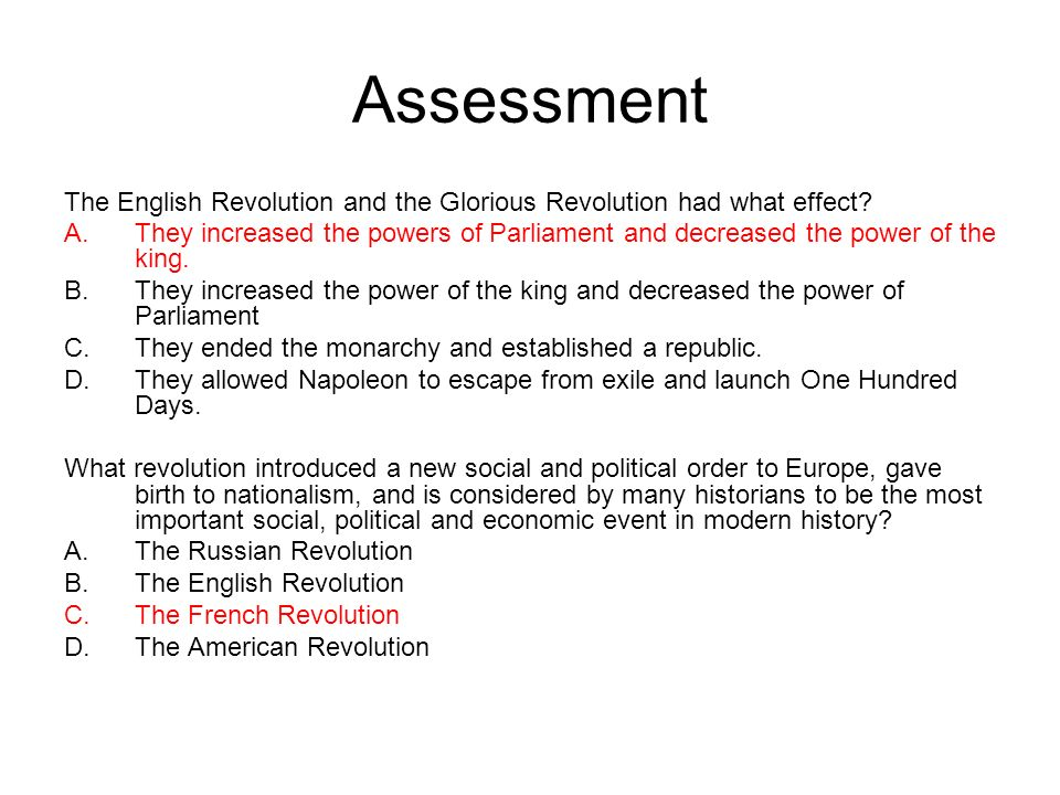 Assessment The English Revolution and the Glorious Revolution had what effect