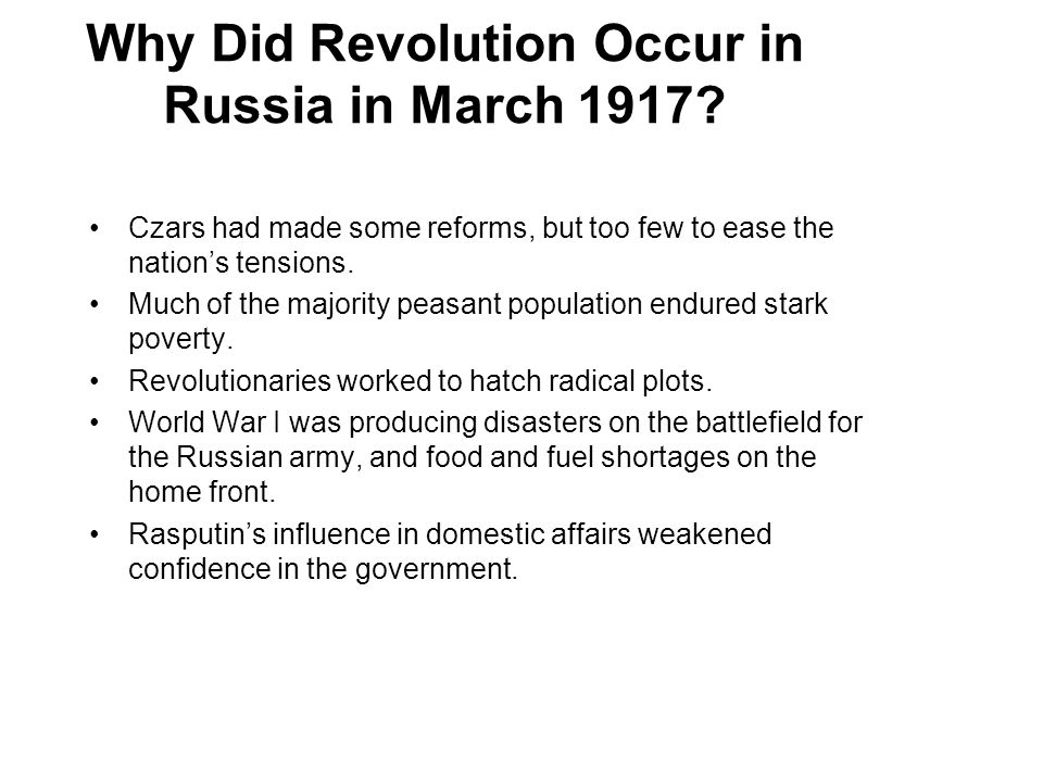 Why Did Revolution Occur in Russia in March 1917