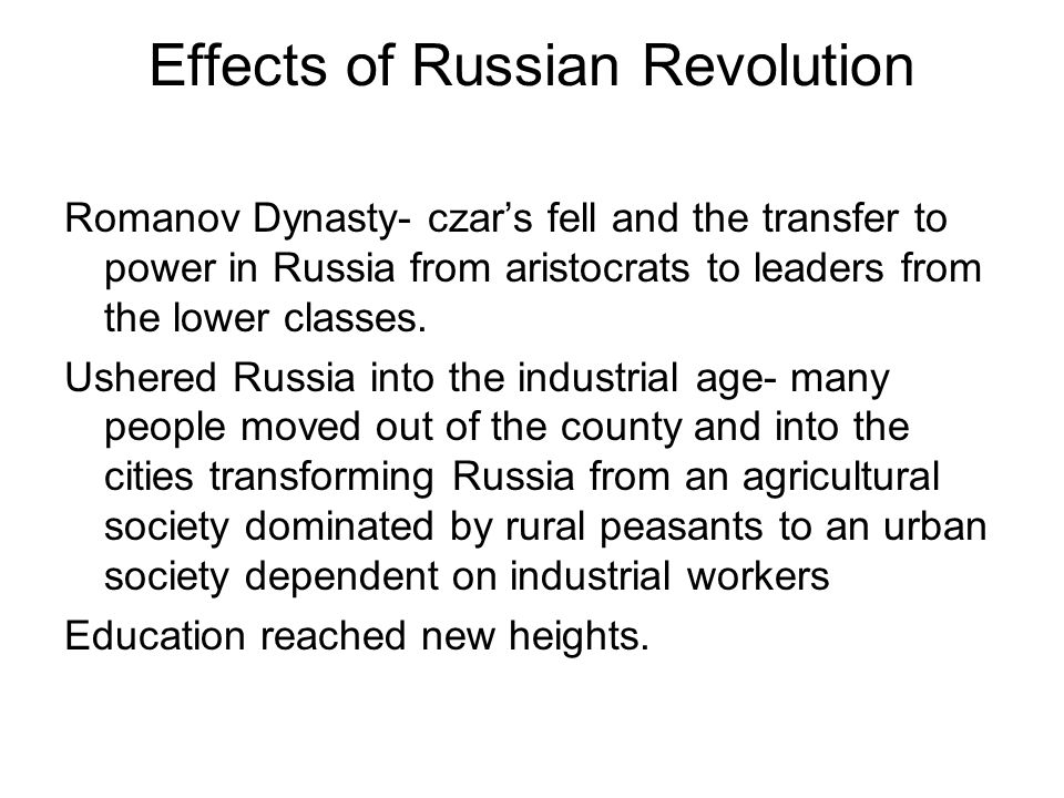 Effects of Russian Revolution