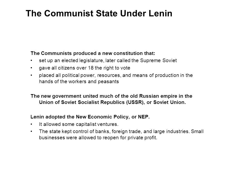 The Communist State Under Lenin