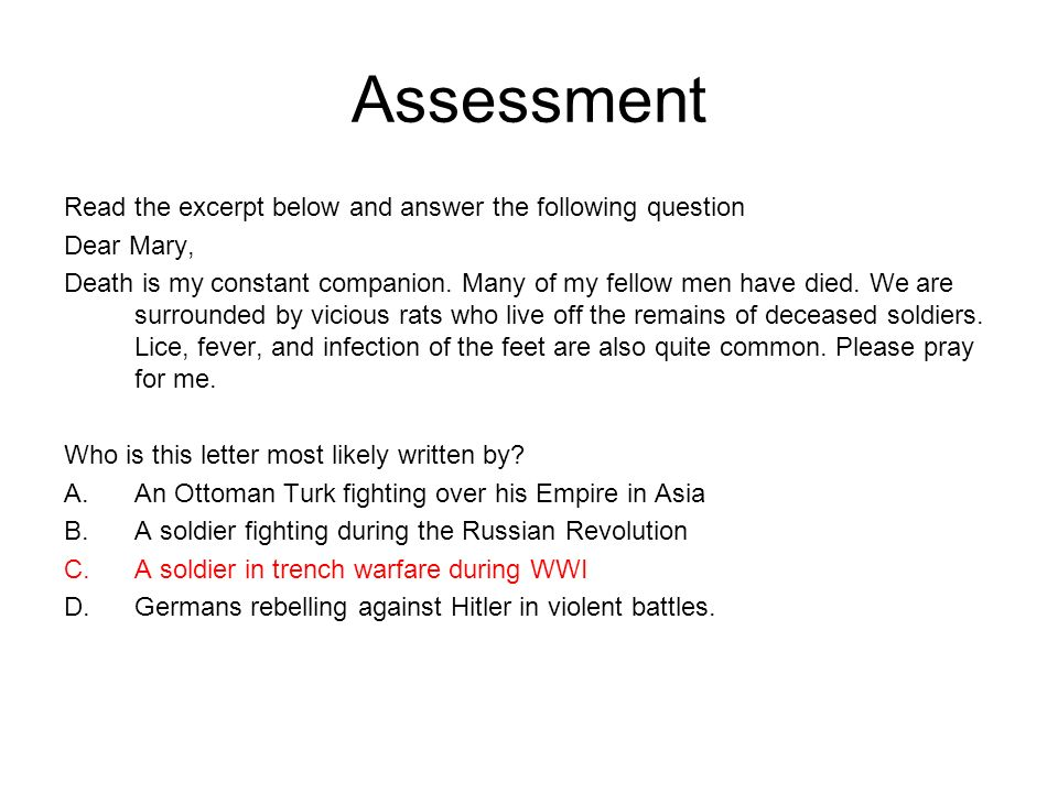 Assessment Read the excerpt below and answer the following question