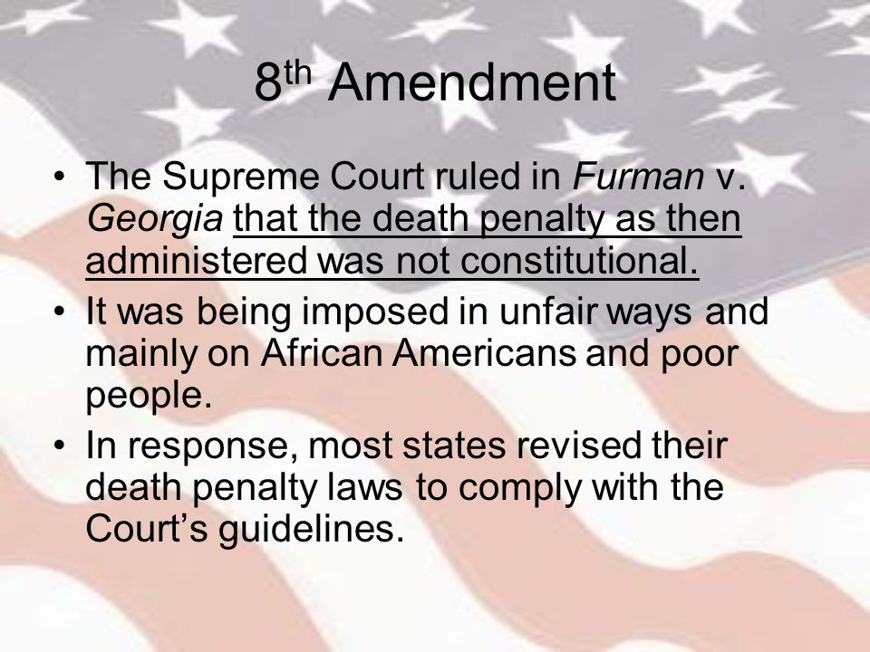 "death penalty and the 8th amendment essay Free essay: the eight amendment to the us constitution ""excessive bail shall not be required, nor excessive fines imposed, nor cruel and unusual punishment."
