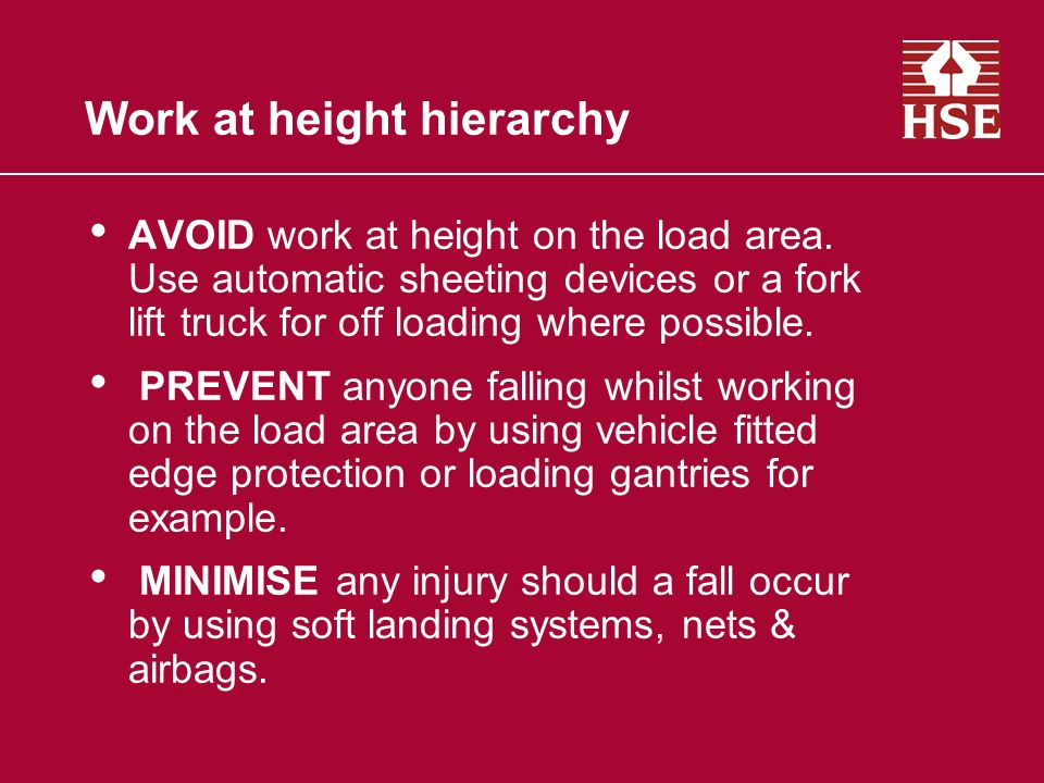 Work at height hierarchy
