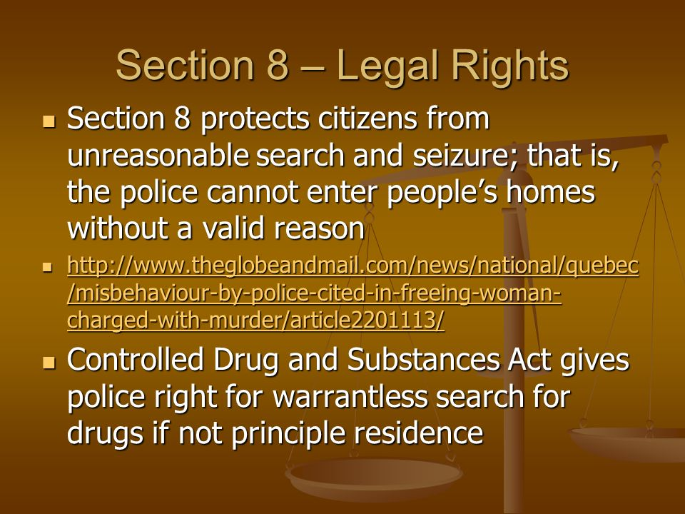 Section 8 – Legal Rights