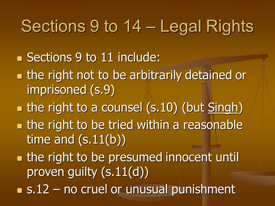 Sections 9 to 14 – Legal Rights