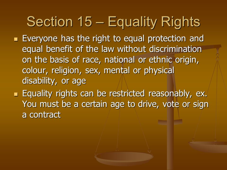 Section 15 – Equality Rights