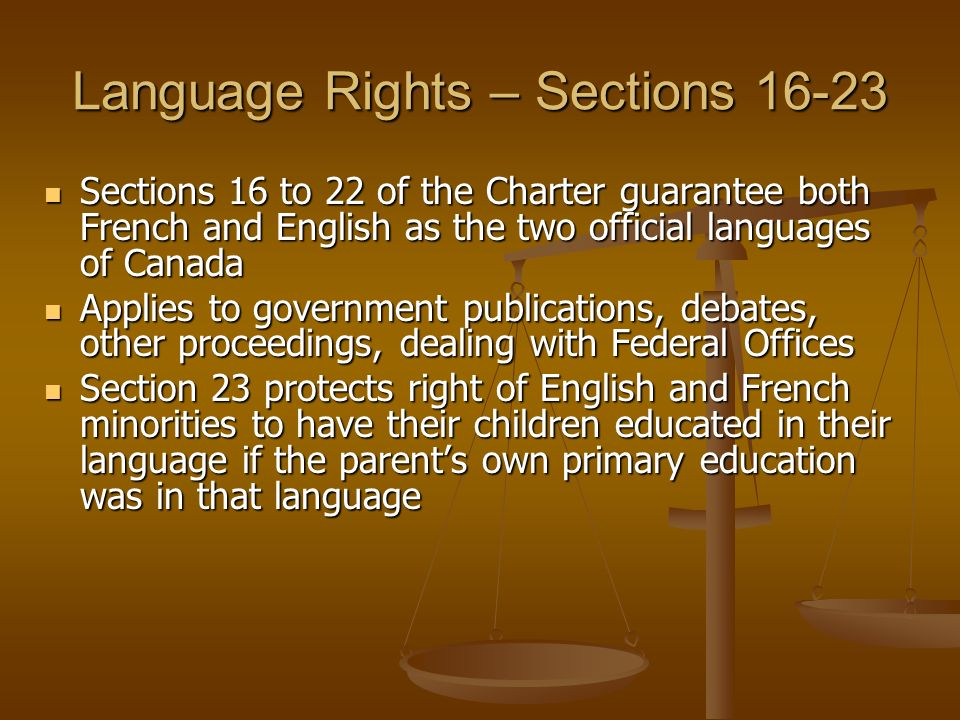 Language Rights – Sections 16-23