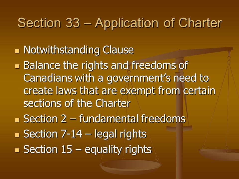 Section 33 – Application of Charter