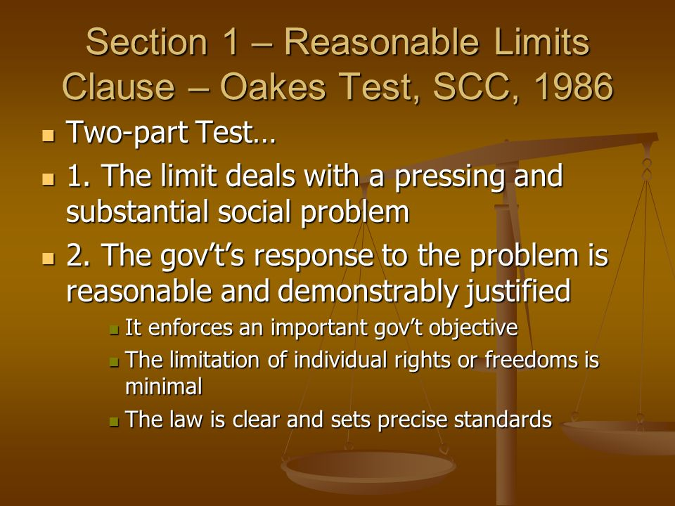 Section 1 – Reasonable Limits Clause – Oakes Test, SCC, 1986