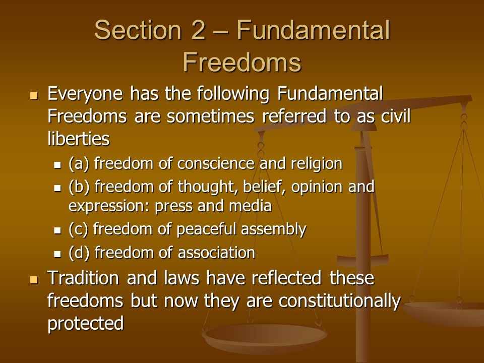 Section 2 – Fundamental Freedoms