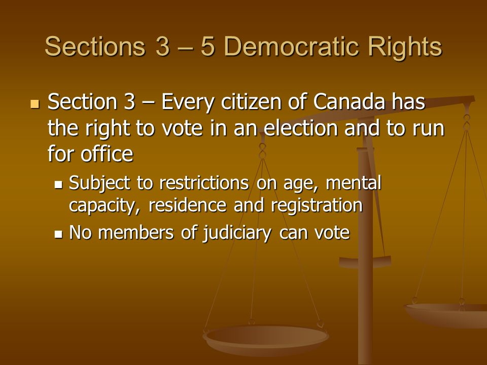 Sections 3 – 5 Democratic Rights