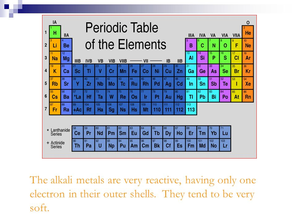 The alkali metals are very reactive, having only one