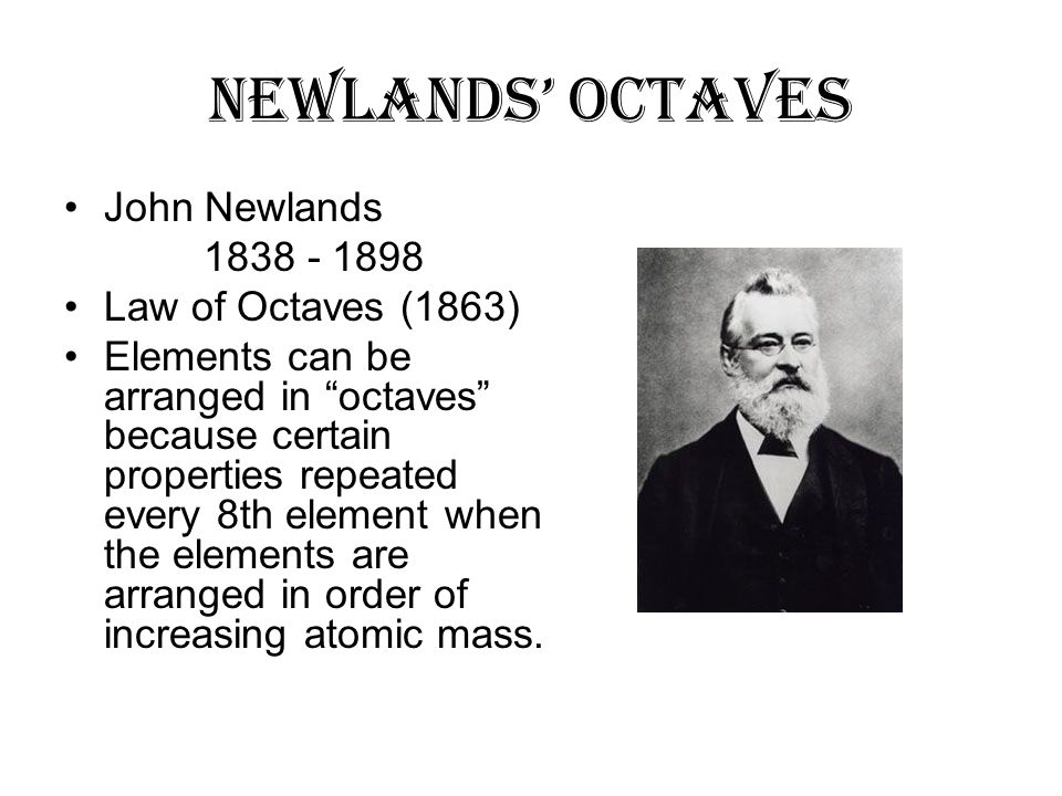 the contribution of john newlands to The history of the periodic table is also a history of the john newlands newlands' law of the royal chemistry society acknowledged newlands' contribution to.