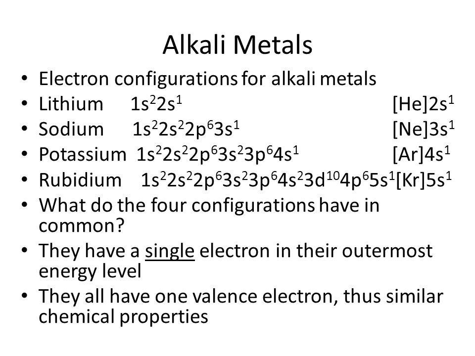 Alkali Metals Electron configurations for alkali metals