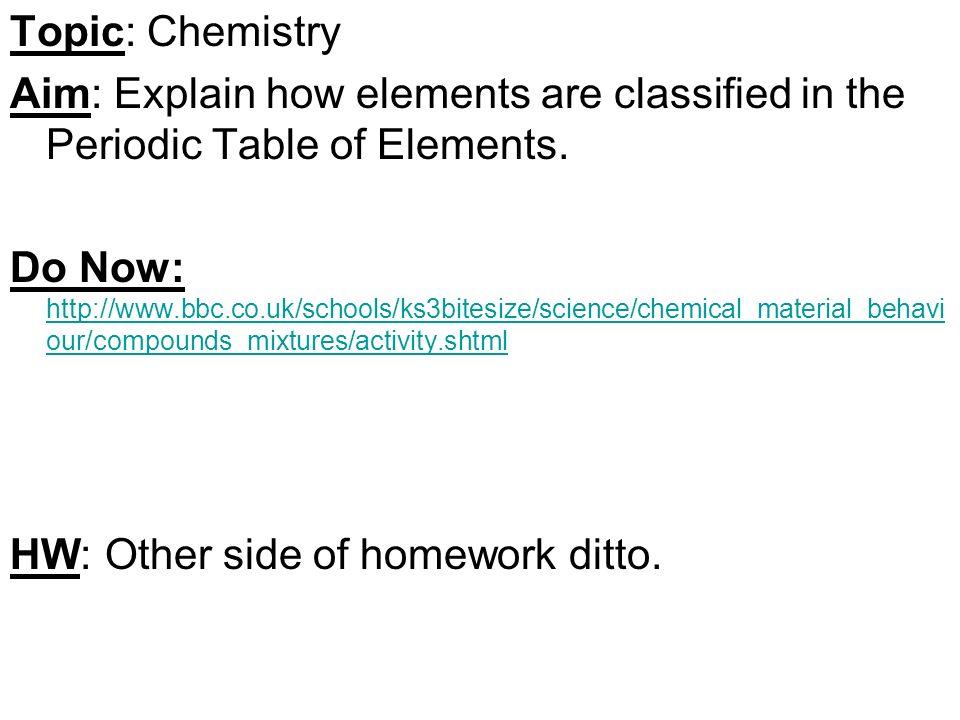 Topic chemistry aim explain how elements are classified in the topic chemistry aim explain how elements are classified in the periodic table of elements urtaz Choice Image