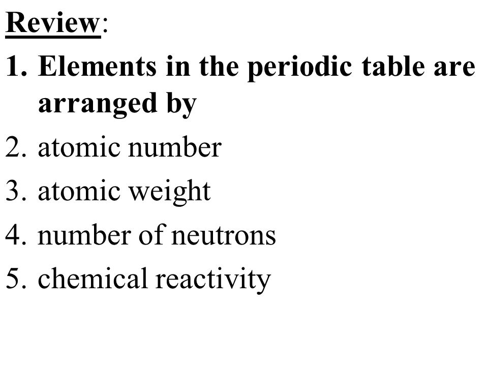 Topic chemistry aim explain how elements are classified in the review elements in the periodic table are arranged by atomic number atomic weight urtaz Images