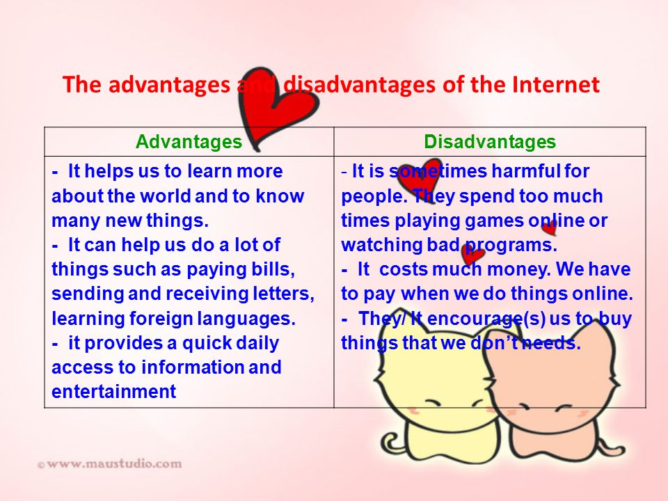 an essay about advantages and disadvantages of internet Free essays on advantages and disadvantages of the internet get help with your writing 1 through 30.
