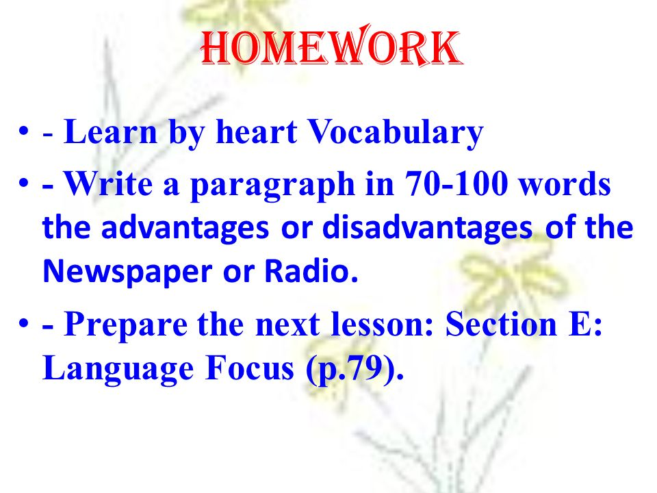 Homework - Learn by heart Vocabulary