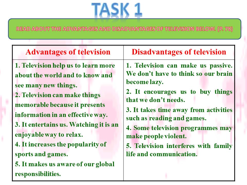 Essay on advantages and disadvantages of television