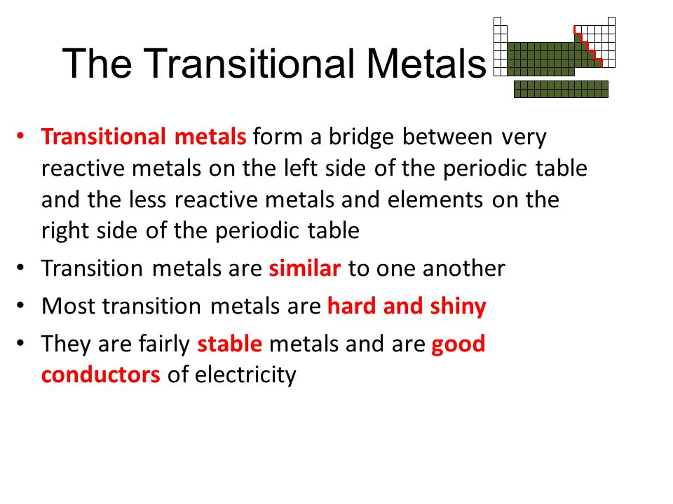 Metals transition metals metalloids and non metals ppt download the transitional metals urtaz Choice Image