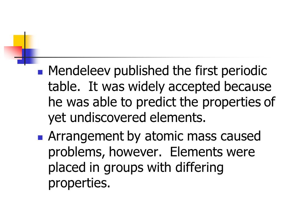 Periodic Table mendeleevs periodic table helped predict properties of : The Periodic Table and Periodic Law - ppt video online download