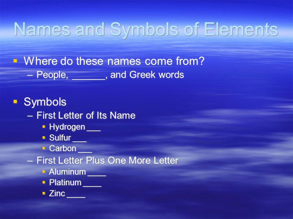 Names and Symbols of Elements