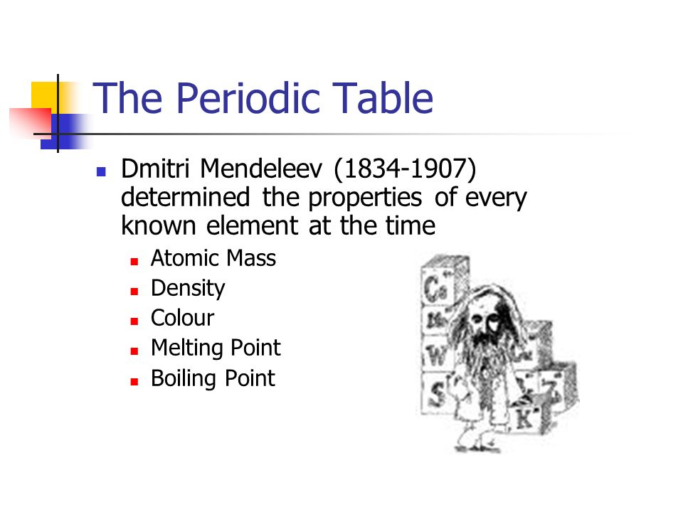 The periodic table ppt video online download the periodic table dmitri mendeleev 1834 1907 determined the properties of every known urtaz Gallery