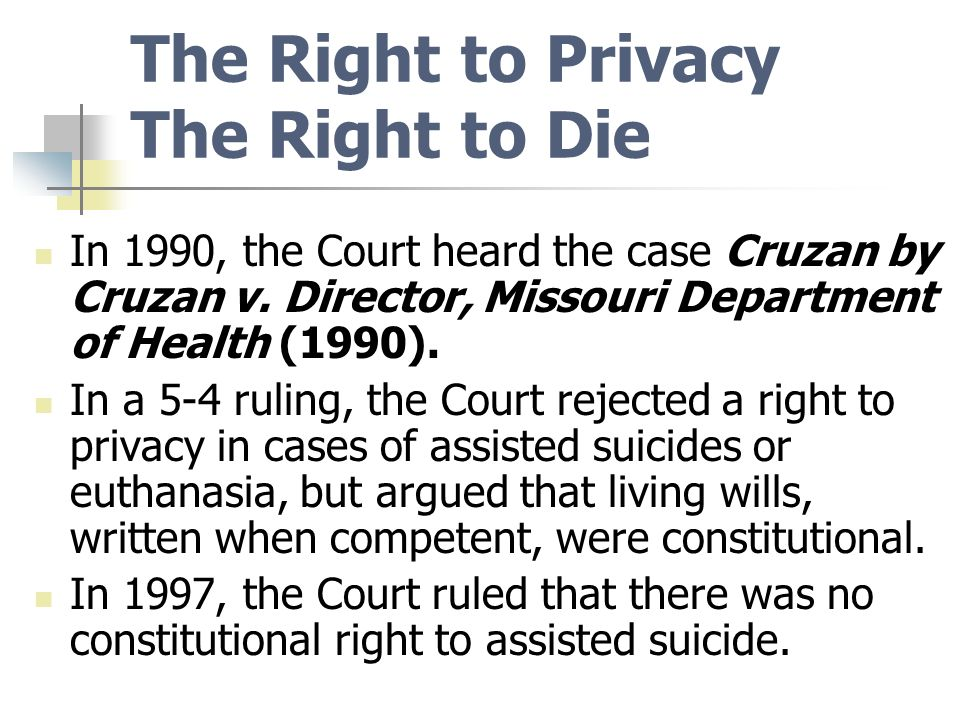cruzan v missouri Then approached hospital officials and sought to have the respirator removed,  knowing that doing so would likely result in their daughter's 4 cruzan v dir, mo.