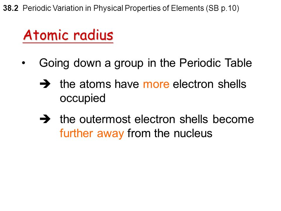 Periodic variation in physical properties of the elements h to ar 82 atomic radius going down a group in the periodic table 382 periodic variation in physical properties of urtaz Gallery