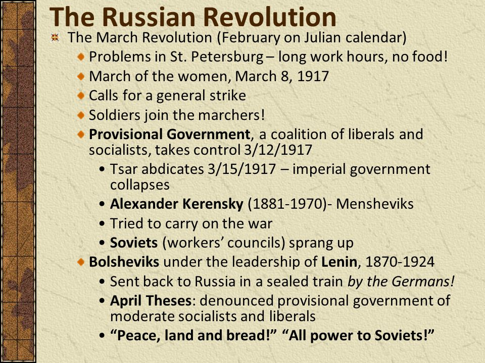 "april theses peace land and bread Indeed, most mainstream historians, studying memoir literature or contemporary records, have concurred, viewing the april theses and the april debates in bolshevik party circles that  which alone can give the war-weary people peace, bread and freedom"" 23 a month later in the april theses lenin reiterated  ""peace, bread and land."