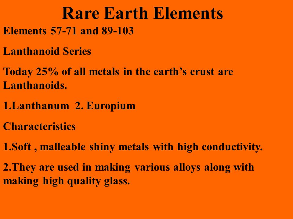 Rare Earth Elements Elements and Lanthanoid Series