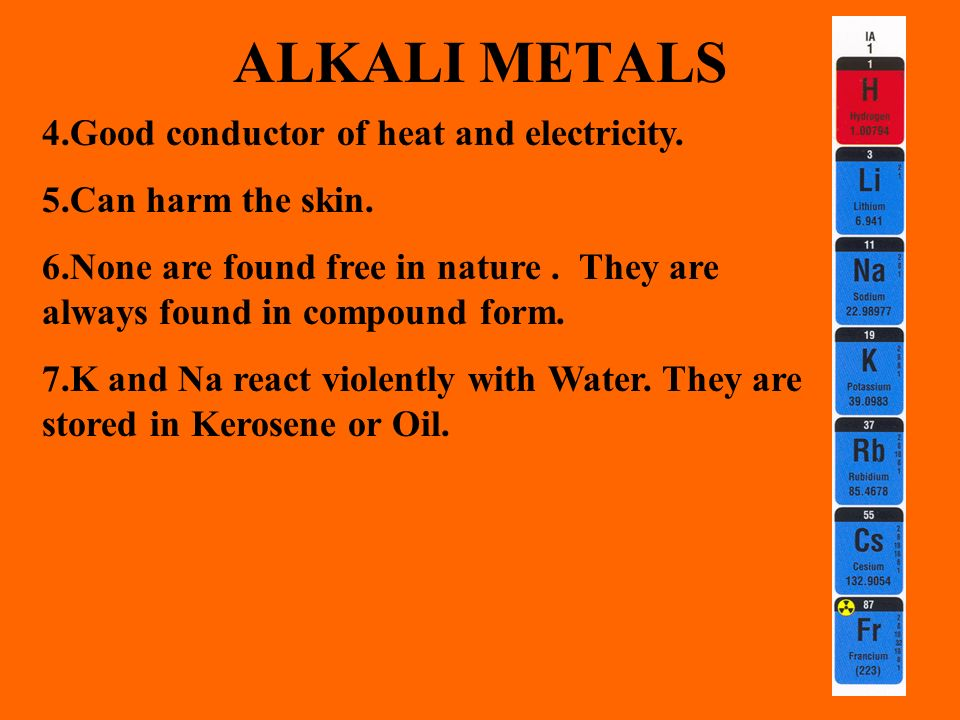 ALKALI METALS 4.Good conductor of heat and electricity.