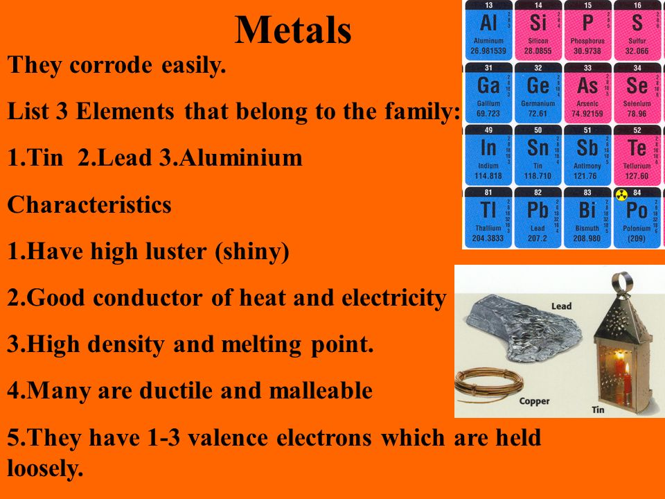 Metals They corrode easily. List 3 Elements that belong to the family: