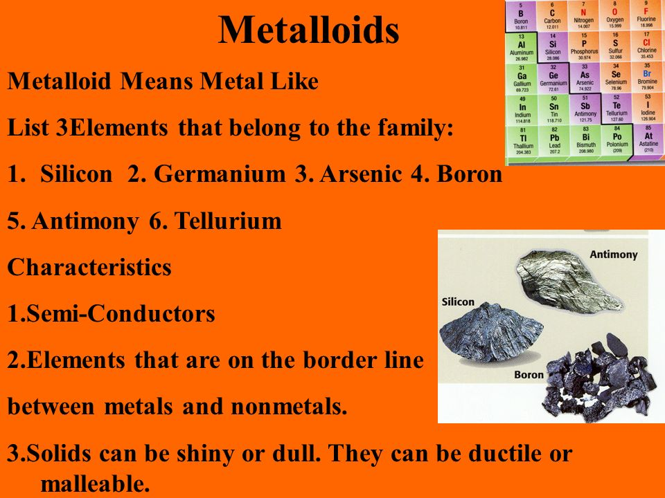 Metalloids Metalloid Means Metal Like