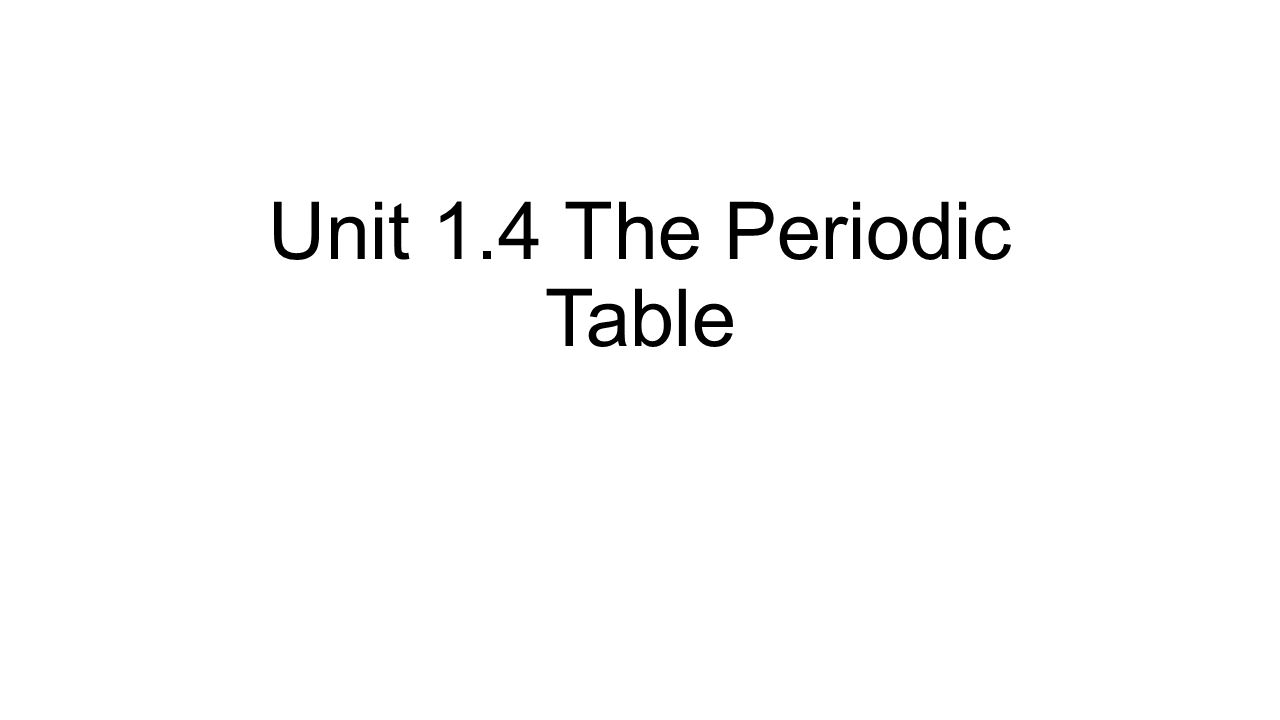 Unit 14 the periodic table ppt download 1 unit 14 the periodic table gamestrikefo Image collections