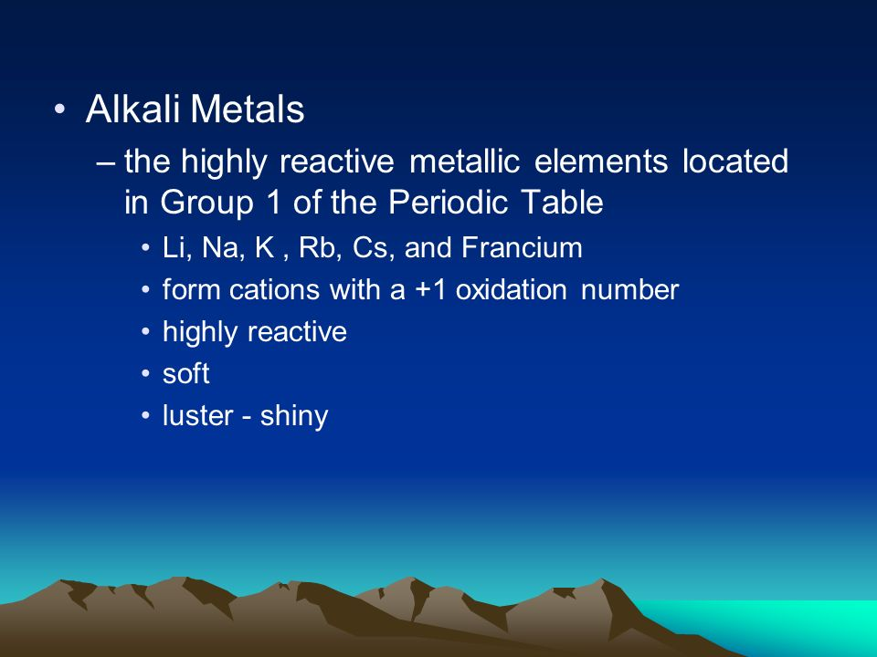 Chapter 3 atoms and the periodic table ppt download 51 alkali metals the highly reactive metallic elements located in group 1 of the periodic table urtaz Choice Image