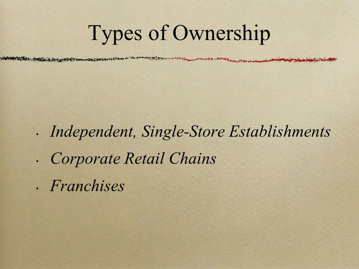 Types of Ownership Independent, Single-Store Establishments