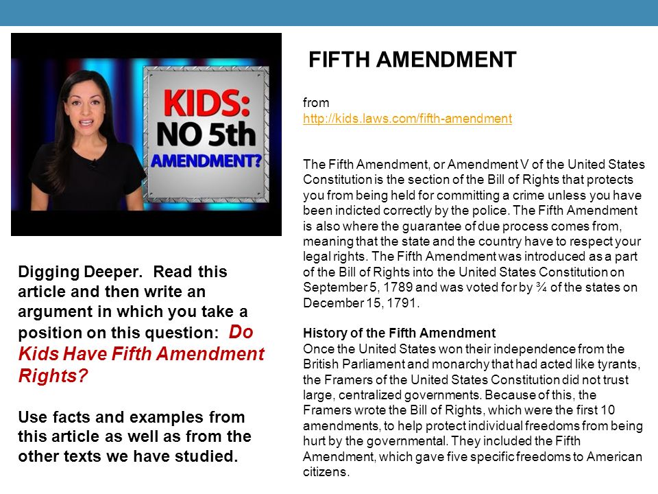 OP-EDS ARGUMENT MINI-UNIT: Kids and The Bill of Rights - ppt download