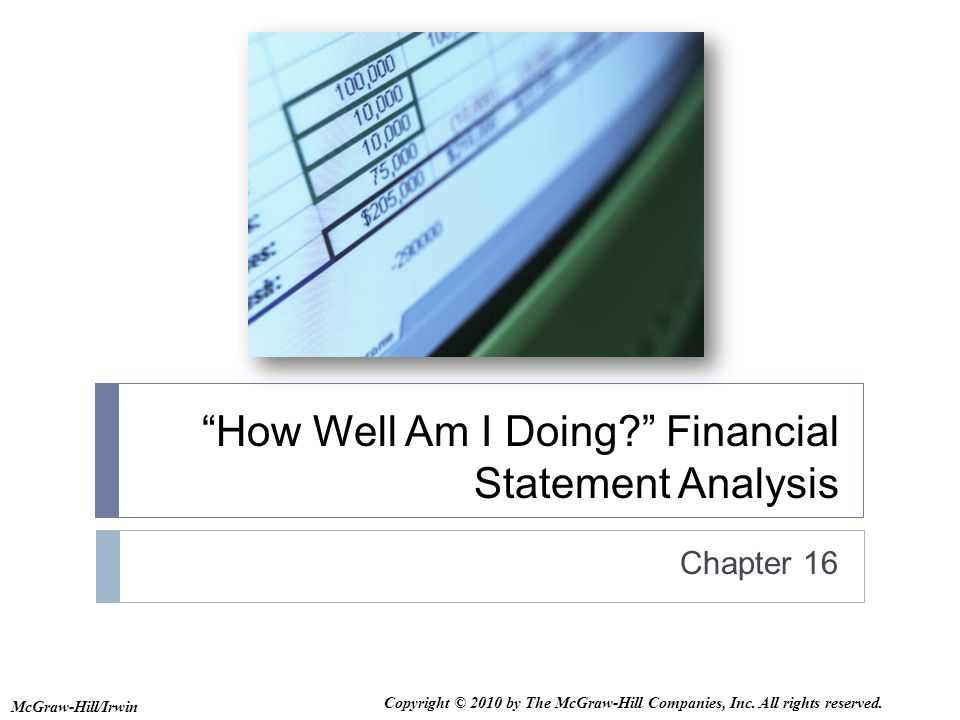How Well Am I Doing Financial Statement Analysis  Ppt Download