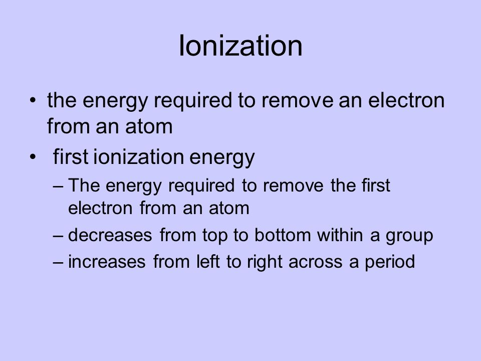 Ionization the energy required to remove an electron from an atom