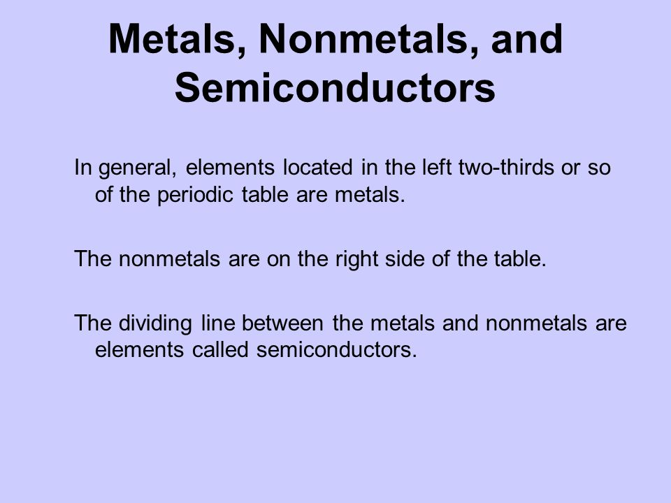 Metals, Nonmetals, and Semiconductors