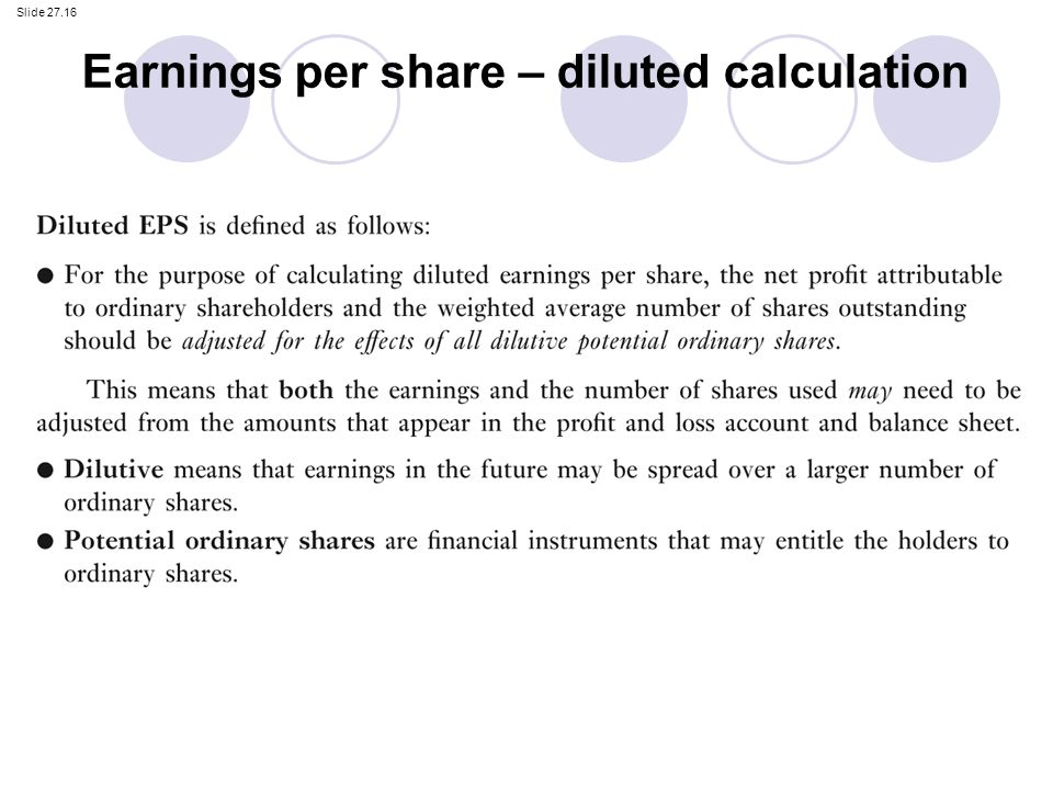 Calculating diluted earnings per share stock options