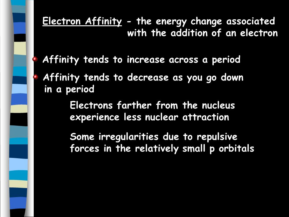 Electron Affinity - the energy change associated with the addition of an electron