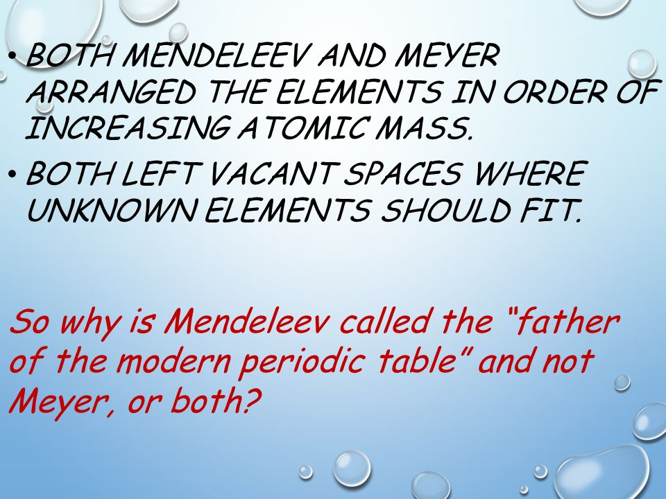 Unit 4 the periodic table of elements ppt video online download both mendeleev and meyer arranged the elements in order of increasing atomic mass urtaz Images
