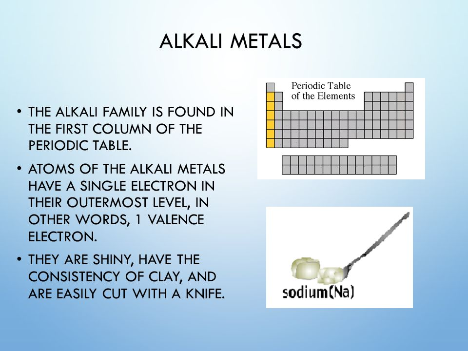 Unit 4 the periodic table of elements ppt video online download 38 alkali metals the alkali family is found in the first column of the periodic table urtaz Images