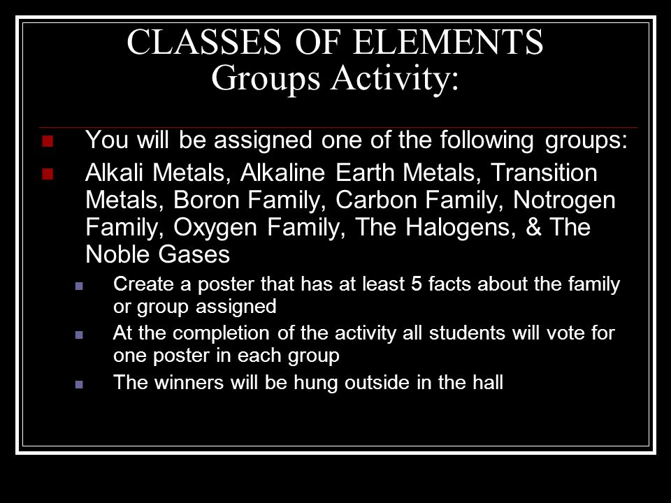 CLASSES OF ELEMENTS Groups Activity: