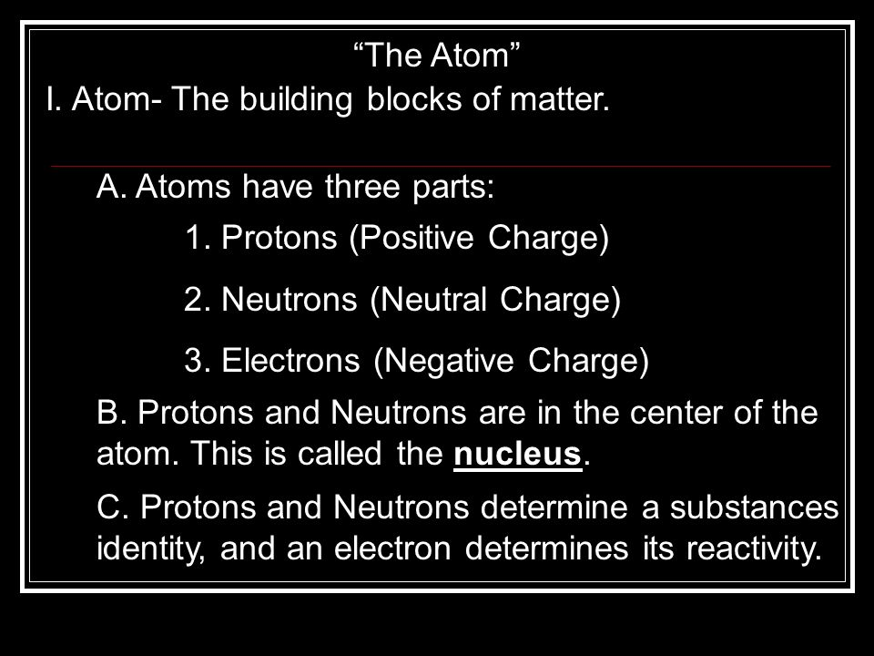 The Atom I. Atom- The building blocks of matter. A. Atoms have three parts: 1. Protons (Positive Charge)